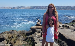 Brooke and Caitlyn with Sea Lions in the background