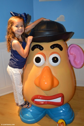 Lila playing with a usable Mr Potato Head in Andy's Room