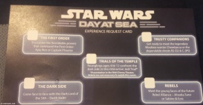 Star Wars Day at Sea experience request card