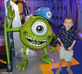 Weston next to Mike in Monsters Inc room